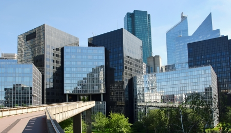 Modern buildings in the business district of La Defense to the west of Paris, France. photo