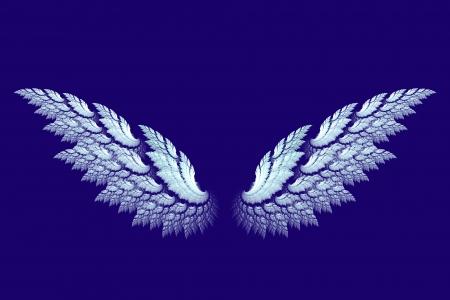 青のフラクタル デザインで作られた白い天使の羽