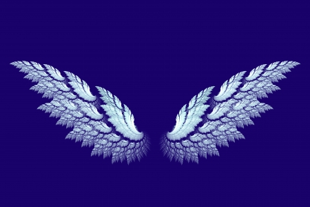 White angel wings made with fractal design on blue