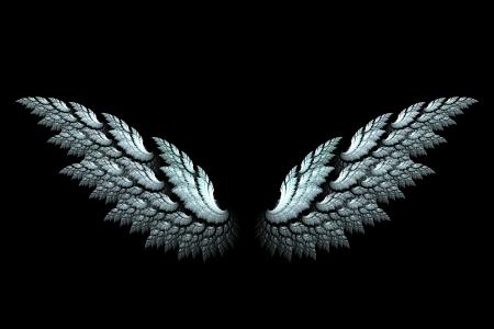 White angel wings made with fractal design on black Standard-Bild