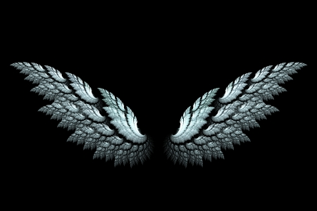 fractals: White angel wings made with fractal design on black Stock Photo