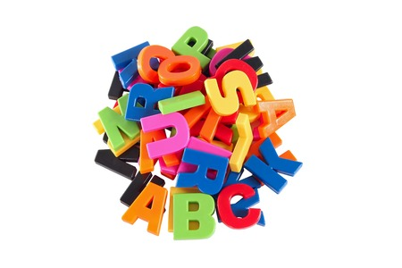 Colorful symbols heap of alphabet  Education concept  Isolated on white Stock Photo