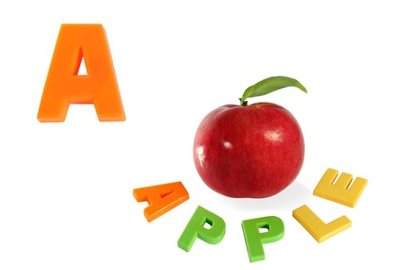 Illustrated alphabet letter A and apple  photo