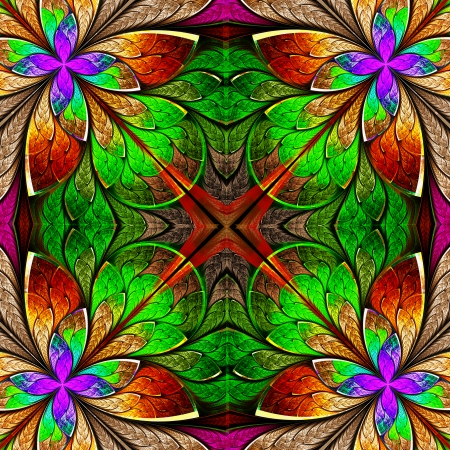 fractals: Multicolored beautiful fractal in stained glass style  Computer generated graphics  Stock Photo