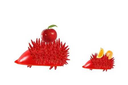 Healthy eating. Mother hedgehog with baby made ??of pepper. photo