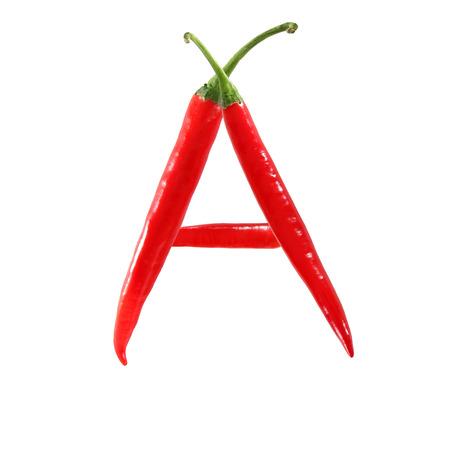 Font heißen roten Chili-Pfeffer isoliert auf weiß gemacht - Buchstabe A Standard-Bild