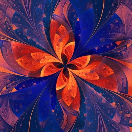 Beautiful fractal flower in dark blue and orange  Computer generated graphics  photo