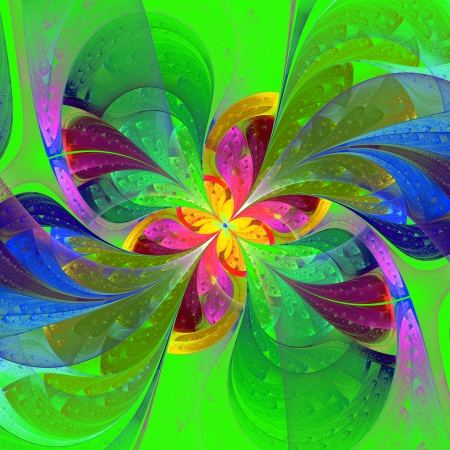 Multicolor beautiful fractal flower on green background  Computer generated graphics  photo