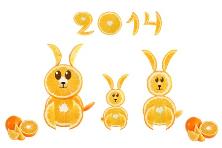 Healthy eating. Funny little rabbits made of the orange slices with  2014. photo