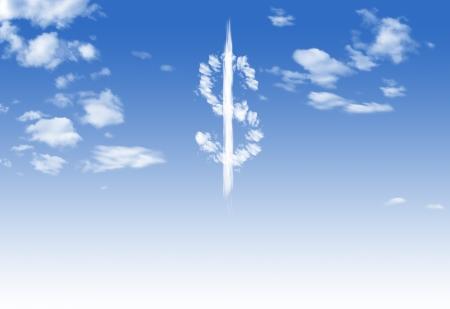 Cloud-$-Währungssymbol Form über blauen Himmel