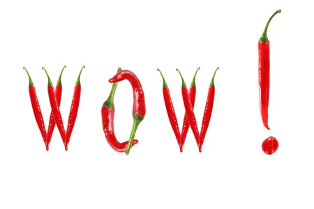 WOW text composed of chili peppers. Isolated on white