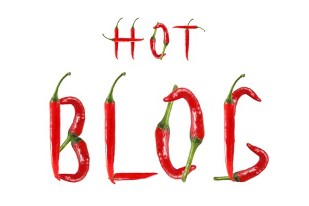 HOT BLOG text composed of chili peppers. Isolated on white background photo
