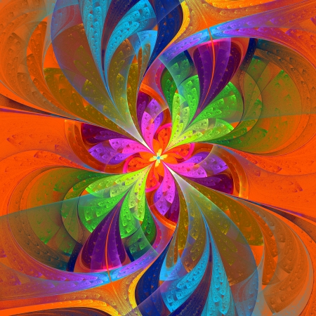 generating: Multicolor beautiful fractal flower on yellow background. Computer generated graphics.