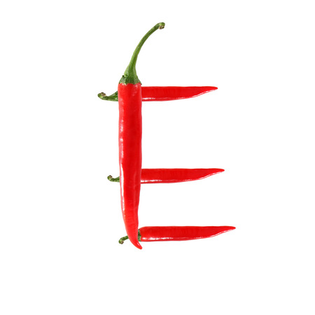 alphabetical order: Font made of hot red chili pepper isolated on white - letter E