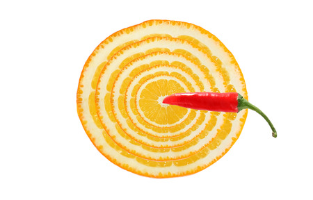 Healthy eating. Target for dart made ??from slices of orange and pepper photo