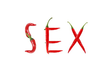 Red hot chili pepper isolated, word sex photo