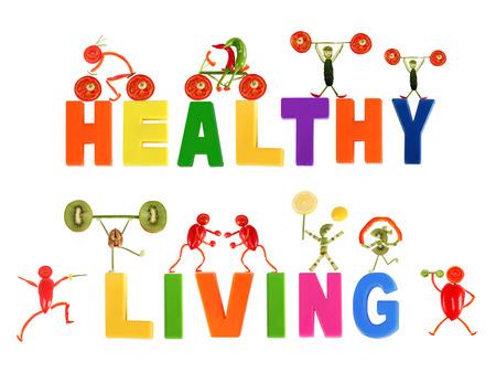 Gesunde Ernährung. Kleine lustige Leute von Gemüse und Früchten.