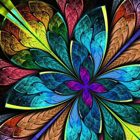 Beautiful multicolor fractal flower  Computer generated graphics