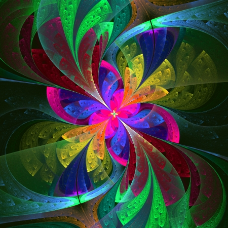 Multicolor beautiful fractal flower  Computer generated graphics  photo