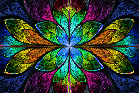 Multicolor beautiful fractal pattern  Computer generated graphics
