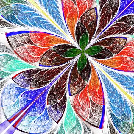 Beautiful multicolor fractal flower  Computer generated graphics  photo