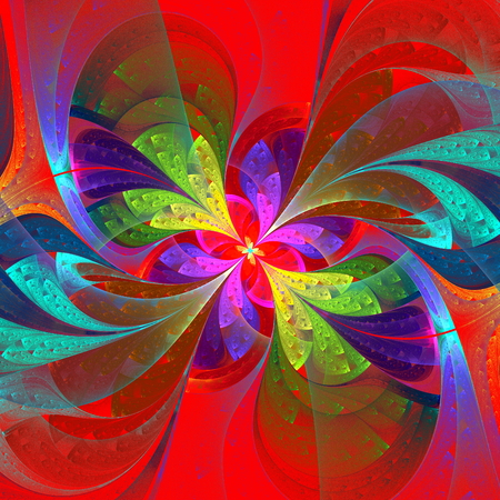 Multicolor beautiful fractal flower on orange background  Computer generated graphics  photo