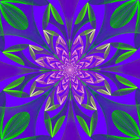 Fabulous symmetrical pattern of the leaves. Computer generated graphics.