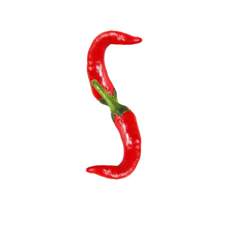 alphabetical order: Font made of hot red chili pepper isolated on white - letter S