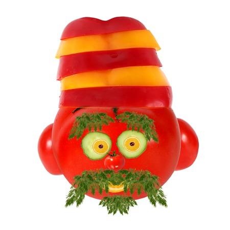 健康的な食事。野菜や果物の変な顔