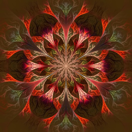 claret: Beautiful fractal flower in claret and red. Computer generated graphics.
