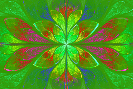 Multicolor beautiful fractal pattern on green background. Computer generated graphics. photo
