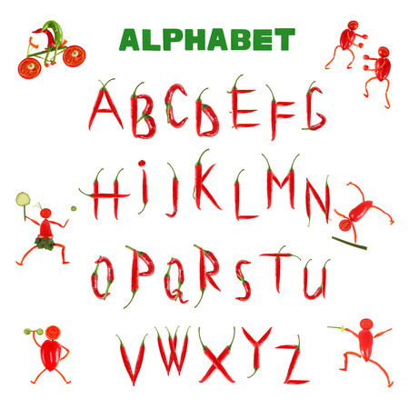 Alphabet written with red chili peppers Stock Photo