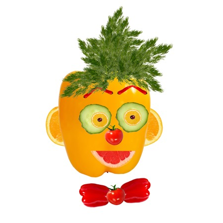 Smiling man portrait made of vegetables and fruits photo