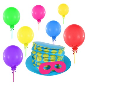 Colorful balloons and hat with mask for party and carnival photo