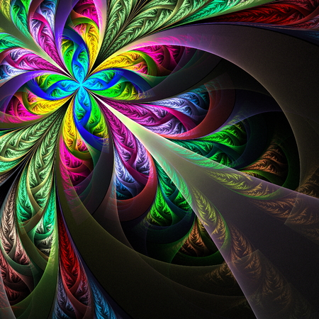 feelers: Diagonal symmetric multicolor fractal tracery. Collection - frosty pattern. On black.