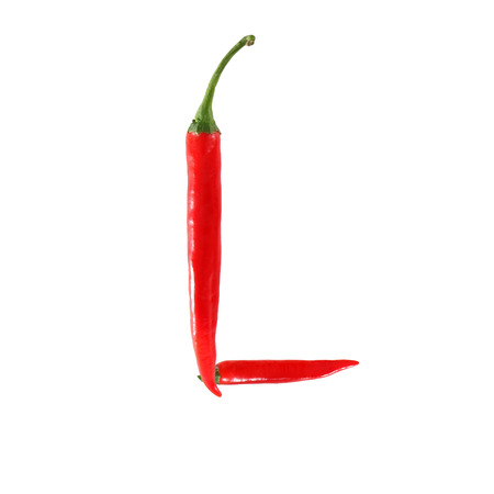 Font made of hot red chili pepper isolated on white - letter L photo