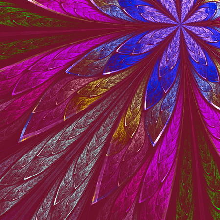 vinous: Multicolor fractal flower on vinous background. Computer generated graphics. Stock Photo