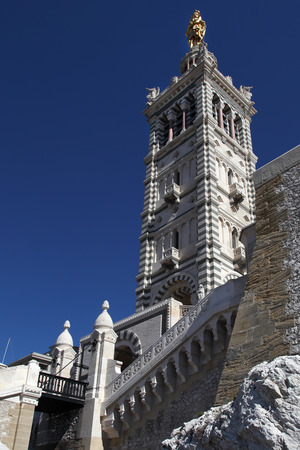 garde: Tower of Notre Dame de la Garde cathedral, Marseille Stock Photo