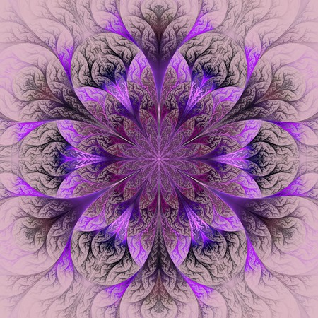 claret: Beautiful fractal flower in purple, claret and gray. Computer generated graphics. Stock Photo
