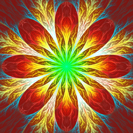 feelers: Beautiful fractal flower in green, red and yellow. Computer generated graphics.