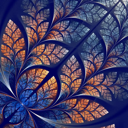 Fabulous fractal pattern in blue and beige photo