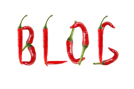 BLOG text composed of chili peppers. Isolated on white background photo