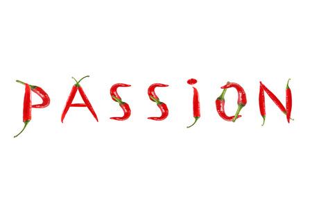 Bild des Wortes PASSION mit roten Chilischoten geschrieben