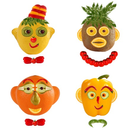 A creative set of food concepts. A few  funny portraits from vegetables and fruits. photo