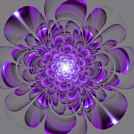 灰色の背景に美しい紫色の花。生成したコンピュータ グラフィックス。