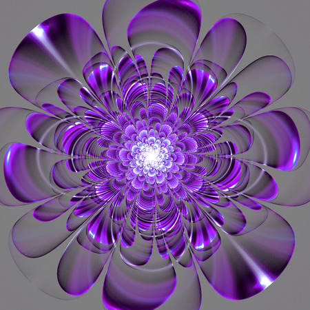 Beautiful purple flower on gray background. Computer generated graphics.