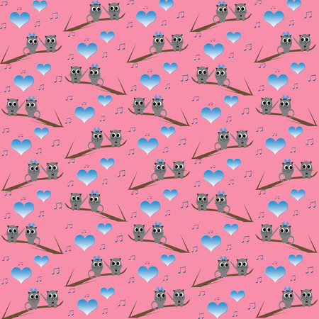 Retro cat kids pattern wallpaper background  photo