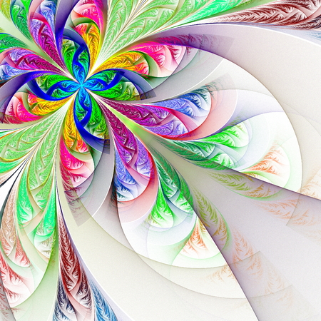 feelers: Diagonal symmetric multicolor fractal tracery. Collection - frosty pattern. On white. Stock Photo