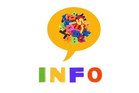 Info Written In Multicolored Plastic Kids Letters photo