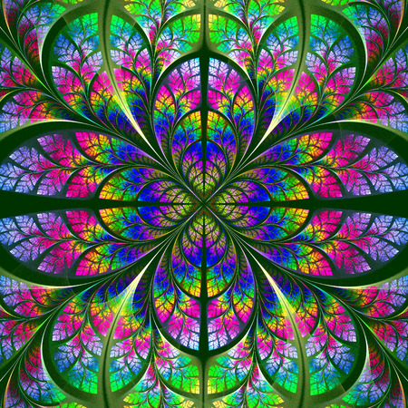 fabulous: Multicolor fabulous fractal pattern. Collection - tree foliage. Computer generated graphics. Stock Photo